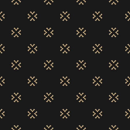 Vector gold and black texture. Abstract minimalist seamless pattern with crosses, snowflakes, floral shapes. Luxury minimal geometric background. Elegant design for decor, textile, carpet, gift paper