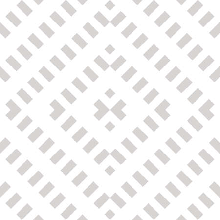 Vector geometric seamless pattern. Abstract white and gray graphic background with diagonal lines, squares, rhombuses, grid, net, grill. Wicker texture. Ethnic folk style ornament. Repeating design