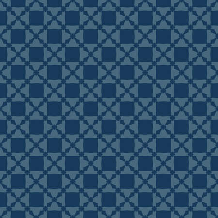 Vector abstract geometric texture. Deep blue color. Minimal seamless pattern with flower shapes, crosses, grid, net, repeat tiles. Elegant ornamental background. Design for decor, print, wallpapers