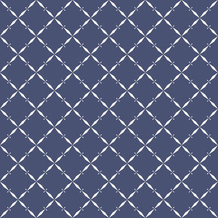 Vector abstract geometric seamless pattern with grid, lattice, net, small diamonds, rhombuses, repeat tiles. Elegant texture in oriental style. Navy blue and white background. Luxury ornament design Vectores