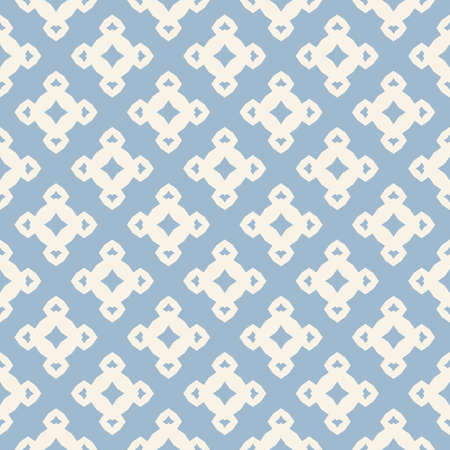 Vector ornamental floral seamless pattern. Light blue and white geometric background with small flower figures, diamond shapes, repeat tiles. Abstract ornament texture. Vintage design for decor, print Vectores