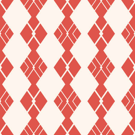 Argyle pattern. Vector abstract geometric seamless texture. Elegant ornament with rhombuses, diamond shapes, rectangles. Simple minimal background in terracotta red and beige colors. Repeat design