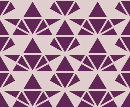 Triangles geometric seamless pattern. Vector texture in purple and lilac color. Elegant minimal graphic background with triangles, diamonds, net, grid. Simple abstract ornament. Cute repeat design