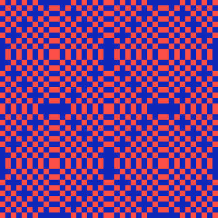 Vector colorful geometric seamless pattern with squares. Stylish checkered texture. Trendy bright colors, red and blue. Creative psychedelic design. Retro 80-90's fashion background. Pixel art
