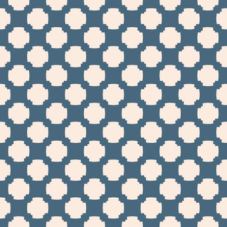 Vector floral seamless pattern. Elegant abstract ornament in deep blue and light pink colors. Geometric background with small flower shapes, crosses, grid, repeat tiles. Elegant minimalist texture Vectores