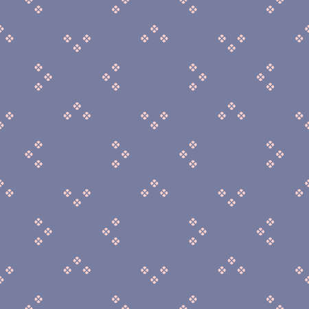Vector minimalist geometric seamless pattern. Cute background with small floral shapes, petals, leaves. Simple abstract minimal texture in blue serenity and pink color. Repeatable decorative design