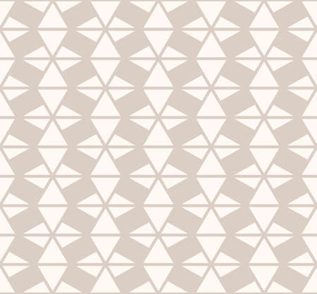 Subtle vector geometric triangles seamless pattern. Light brown and beige colors. Delicate abstract background texture with triangular shapes, grid, net, lattice, mesh. Simple modern repeat design