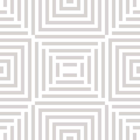 Vector geometric lines seamless pattern. Abstract white and gray ornament with stripes, squares, repeat tiles. Subtle linear background texture. Creative geometry design for decor, carpet, cloth, wrap