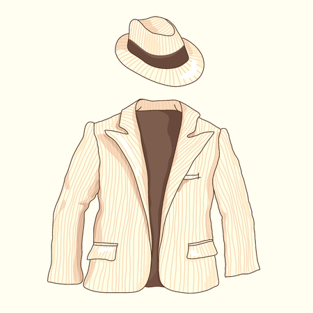 Striped man suit with pockets and hat on a beige background, outerwear Illustration