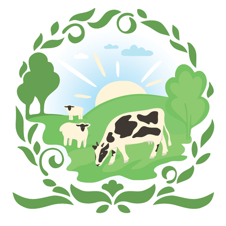 Cow and sheep in a meadow with green grass. The sun rises over the field on which animals graze