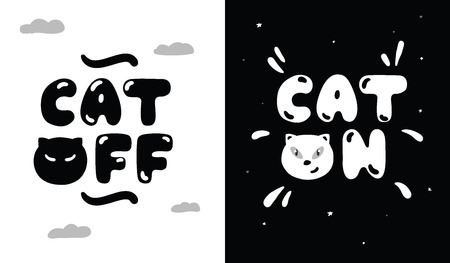 Black and white illustration of lifestyle of cats day and night. The cat sleeps during the day and is awake at night. Cat on, cat off.