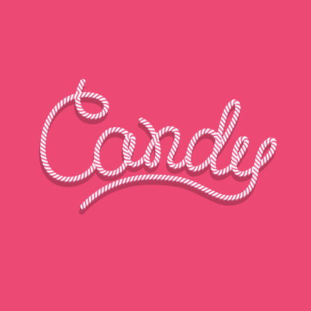Pink logo with candy lettering design. Typography, handmade calligraphy, sweet letters on pink background. Иллюстрация