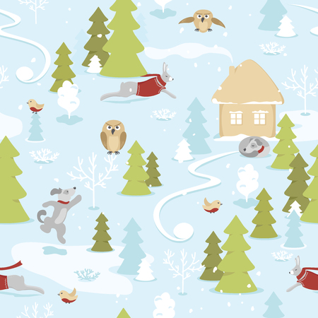 Seamless pattern of fairytale christmas landscape with animals in snowy forest on blue background. Christmas tale, small house on the edge of the forest, owls, dogs and hares among the snow-covered trees