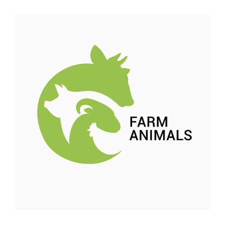 Farm animals logo, farmers market icon icon, animal husbandry logo. Vector group of agricultural animals. Sow, pig, sheep, ram, chicken  イラスト・ベクター素材
