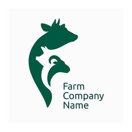 Logotipo de la empresa agrícola, icono de animales agrícolas. Símbolo de animales de granja con vaca, cerdo y cabra.