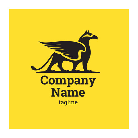 Logo company with griffin. The symbol of successful company. Illustration of gryphon on yellow background