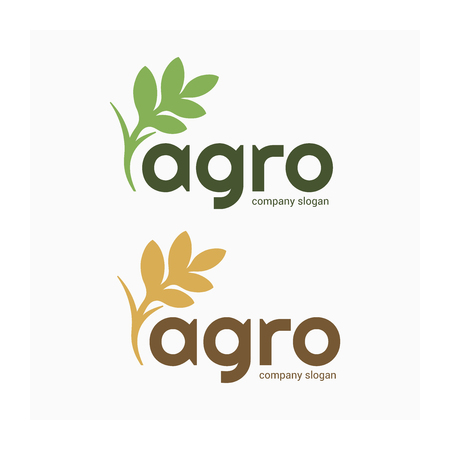 Agro company logo. Vector nature and farming logotype. Label for agricultural company. Eco green and gold logo