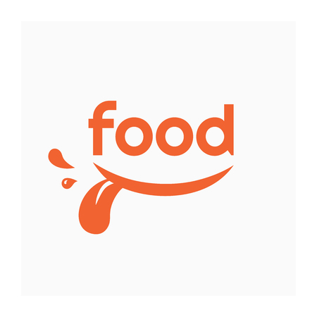 Food icon with smile. Label for food company. Grocery store icon. Vector illustration with smiling mouth