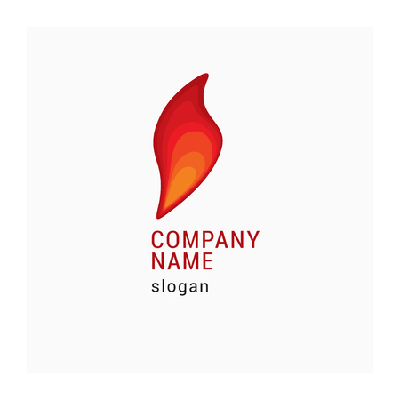 Logo company with fire. Icon flame for business. Company identity with red and yellow sign. Vector illustration of fiery symbol