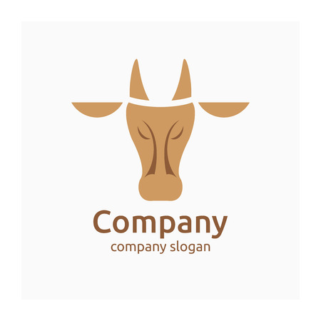 Company logo with cow. Symbol for cattle company. Agricultural or dairy sign. Vector logo for farm products. Farm animal. Icon for cattle raising business. Brown logotype for animal husbandry company Vectores