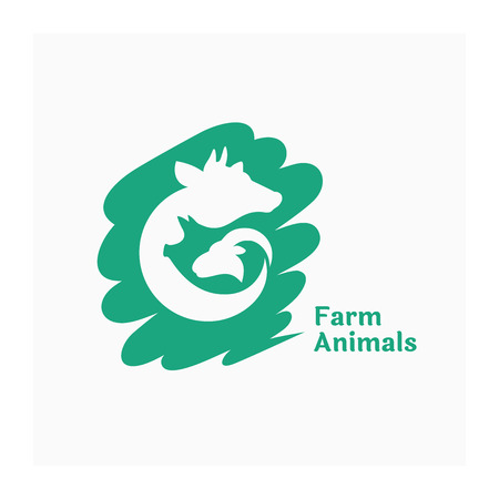 Farm animals sign. Green logo for agricultural animals. Agro company illustration. Design for farm products. Logotype on green spot. Vector illustration of cow, pig and ram