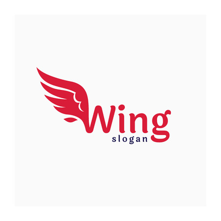 Wing logo. Living coral color logo. Logo company with the wing. Abstract icon for business. Company identity with wing sign