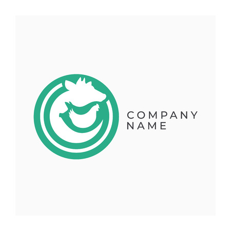 Farm logotype with animals. Agricultural animals sign. Icon for farm products. Design element for farm isolated on white background. Illustration of cow, pig and chicken