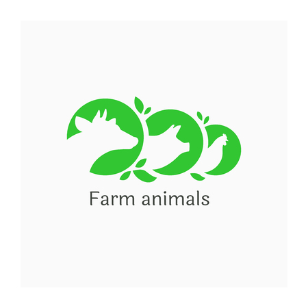 Logo with farm animals. Illustration of cow, pig and chicken. Agricultural symbol. Icon for farm. Agriculture business logotype. Design for animal husbandry company. Green sign with three medals of farm animals Vectores