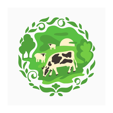 illustration for livestock or farming. Green vector illustration with farm animals on the meadow for print design or for label, badge, sticker, banner. Symbol of rustic landscape with cow and sheep