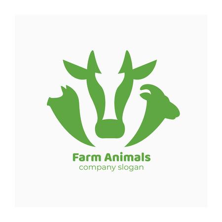Icône de ferme verte avec vache, cochon et bélier. Symbole pour le ranch ou l'agriculture. Logo avec des animaux domestiques pour la foire des agriculteurs, le marché, l'entreprise agricole. Illustration du bétail