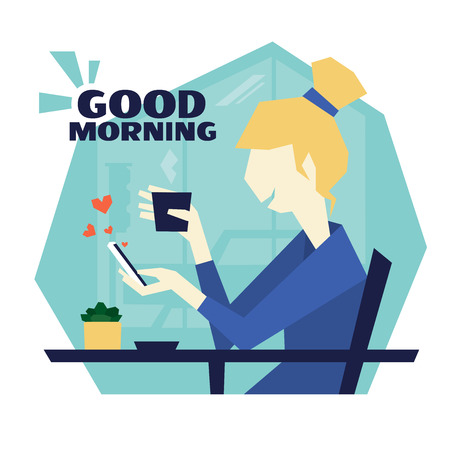Girl is sitting in a cafe, drinking coffee and writing message by mobile phone. Vector illustration of young woman with gadget. Scene good morning in a cafe by the window. Social likes