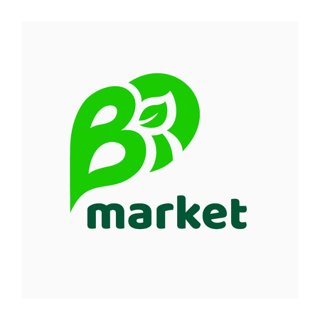 Logo for organic market. Green vector illustration with leaf for natural fresh food. Label for healthy eating product