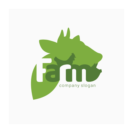 Organic farm logo with cow, pig and chicken. Symbol for livestock company. Green vector sign for farmers market, healthy eating, butcher, agricultural business. Illustration domestic animals