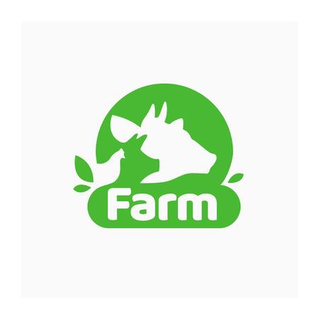 Icono de granja orgánica con vaca, cerdo y pollo. Símbolo de marca de ganado. Signo de vector verde para el mercado de agricultores, alimentación saludable, carnicería, negocio agrícola. Ilustración de animales domésticos Ilustración de vector