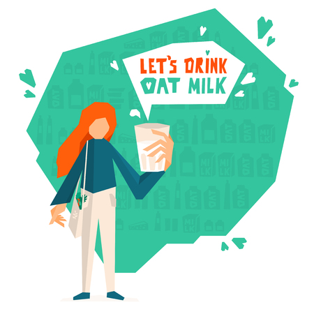 Vector illustration of girl holding glass of vegan drink. Hand drawn lettering Let's drink oat milk. Advertising natural healthy eating. Organic dairy product. Young woman with red hair in BIO market.
