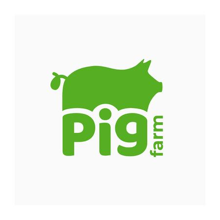 Logo vectoriel pour ferme porcine. Symbole vert avec truie pour l'élevage porcin. Signe pour l'élevage, boucherie. Étiquette pour porc, nourriture à base de viande. Icône avec cochon pour l'élevage. Identité pour le ranch.