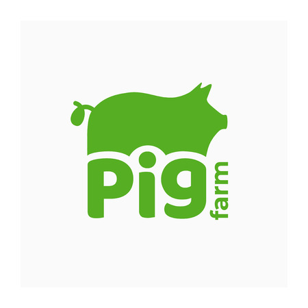 Vector logo for pig farm. Green symbol with sow for swine-breeding. Sign for livestock farming, butcher shop. Label for pork, food from meat. Icon with piggy for animal husbandry. Identity for ranch.