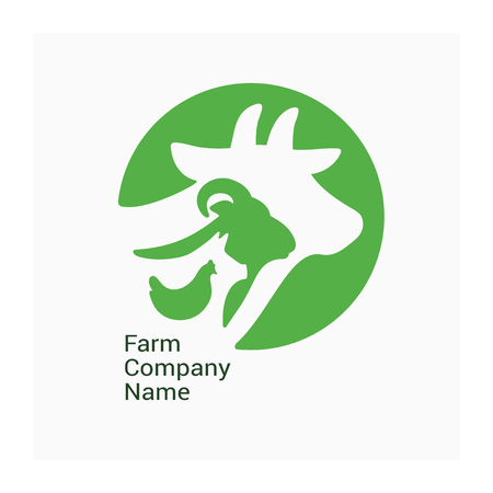 Logo for livestock company, stock raising. Round symbol with cow, pig, ram and chicken. Green sign for ranching. Vector illustration of farm animals. Label for Bio products, farmers fair or market. Illustration