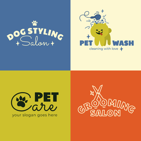 Logo for Dog Styling, Wash, Care and Grooming salon, veterinary clinic. Set of signs with Pet services. Icon with Spitz. Vector illustration of home animal cleaning. Business card or banner Design.