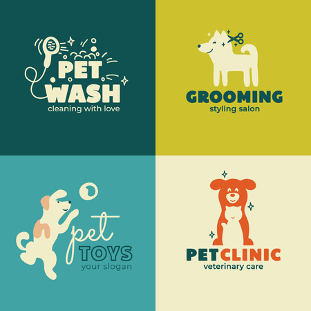 Set of icons for Pet Clinic, Toys, Styling, Wash, Care and Grooming salon. Logo for veterinary service. Symbol with dog and cat. Vector illustration of home animals. Business card or banner Design.