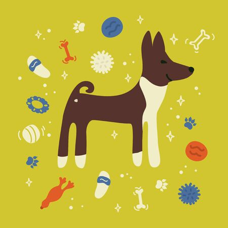 Cute poster of Basenji with dog toys. Vector illustration with pet supplies. Ball, bone, slippers on yellow background. Design template with puppy for banner, business card. Postcard with home animal. Illustration