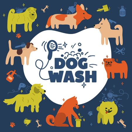 Vector illustration with different dog breeds. Funny poster with akita inu, jack russell, spitz, pug, corgi, terrier, sharpei. Dog wash logo. Icon for pet cleaning service. Cute postcard with puppies.