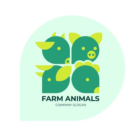Farm animals trendy logo. Logotype for livestock company, animal husbandry. Label for farm products, meat food, BIO market. Sign for agricultural business. Vector icons with cow, pig, chicken and ram.