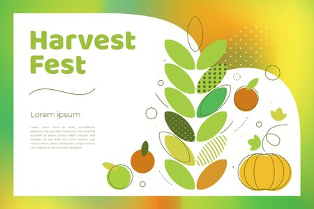 Vector illustration of Autumn harvest festival. Poster for fall fest with icons of pumpkin,apples,wheat. Design with bright gradient and geometric figures. Template for for banner, flyer, invitation.