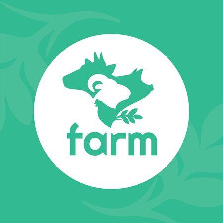Illustration vectorielle des animaux de la ferme. Logo pour entreprise d'élevage, élevage. Symbole rond avec vache, cochon, bélier et poulet. Panneau vert pour l'élevage. Label pour les produits Bio, foire agricole ou marché.