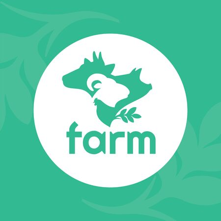 Vector illustration of farm animals. Logo for livestock company, stock raising. Round symbol with cow, pig, ram and chicken. Green sign for ranching. Label for Bio products, farmers fair or market.