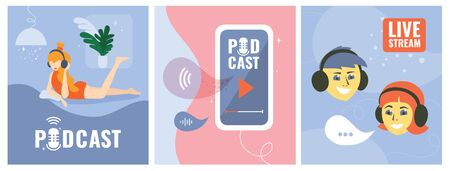 Set of vector illustrations with smartphone and logo Podcast on the screen,bloggers, studio table microphone,live stream, boy and girl in headphones. Templates for web page, banner, blog post, prints. Illustration