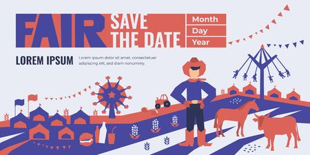 Vector detail illustration of State Fair. Event poster with food market, ferris wheel, farm animals, country fair. Design template for invitation, landing page, banner, print, flyer. Save the date.