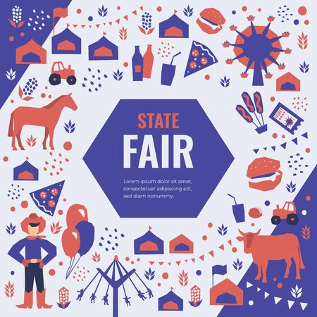 Vector detail illustration of State Fair. Event poster with food market, ferris wheel, farm animals, country fair. Design template for banner, brochure, invitation, landing page, print, flyer, advert. Illustration