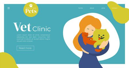 Design for vet clinic, pet care, medicine, veterinary hospital. Vector illustration with cute girl hugging cat and dog. 向量圖像